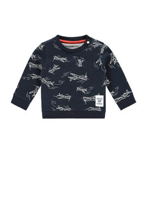 baby sweater Archdale met all over print donkerblauw/wit