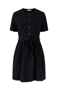 PIECES blousejurk met ceintuur zwart, Zwart