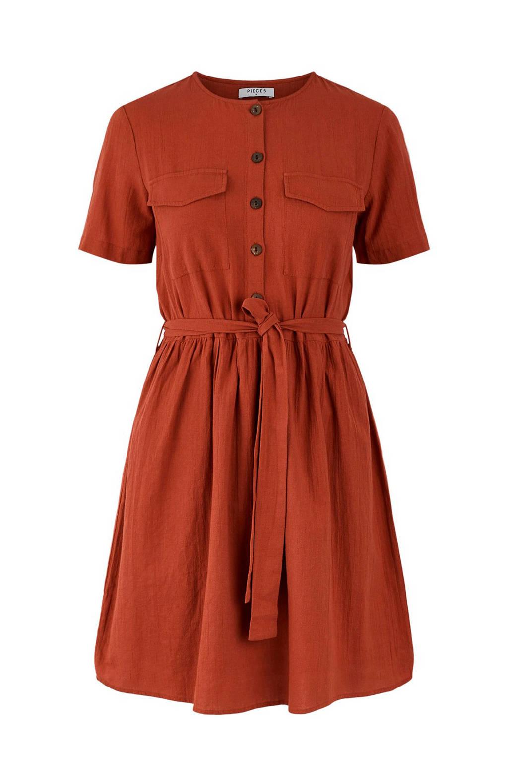 PIECES blousejurk met ceintuur rood, Rood