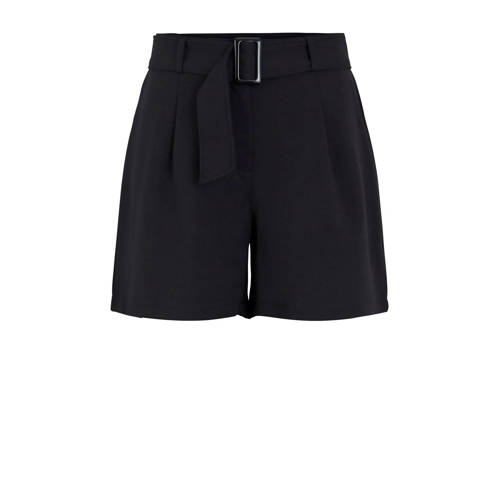 PIECES high waist straight fit short zwart