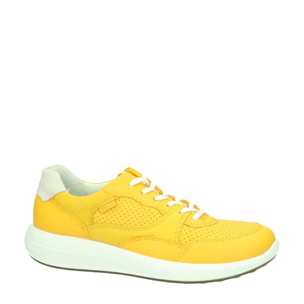 Ecco Soft 7 Runner  leren sneakers geel, Geel