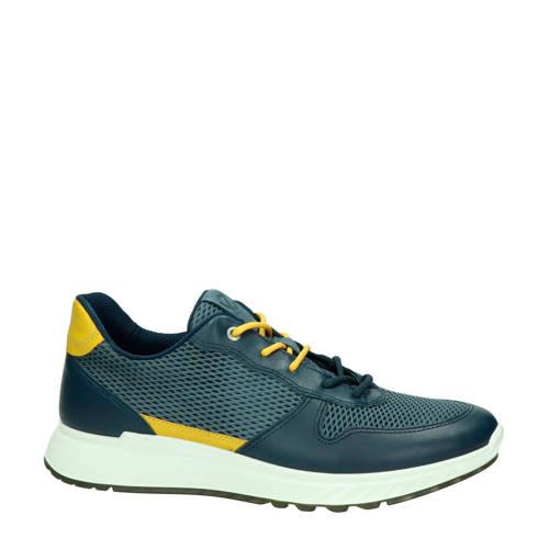 Ecco ST1 leren sneakers blauw/geel
