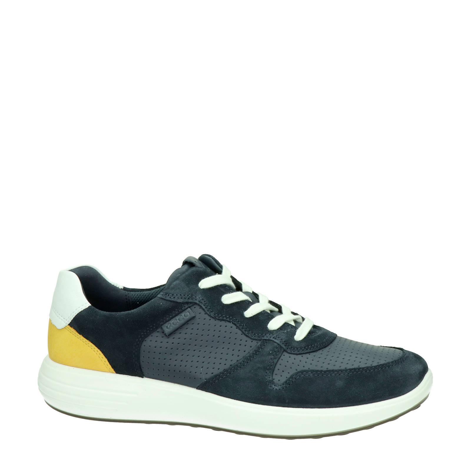 Ecco Soft 7 Runner leren sneakers blauwgeel | wehkamp