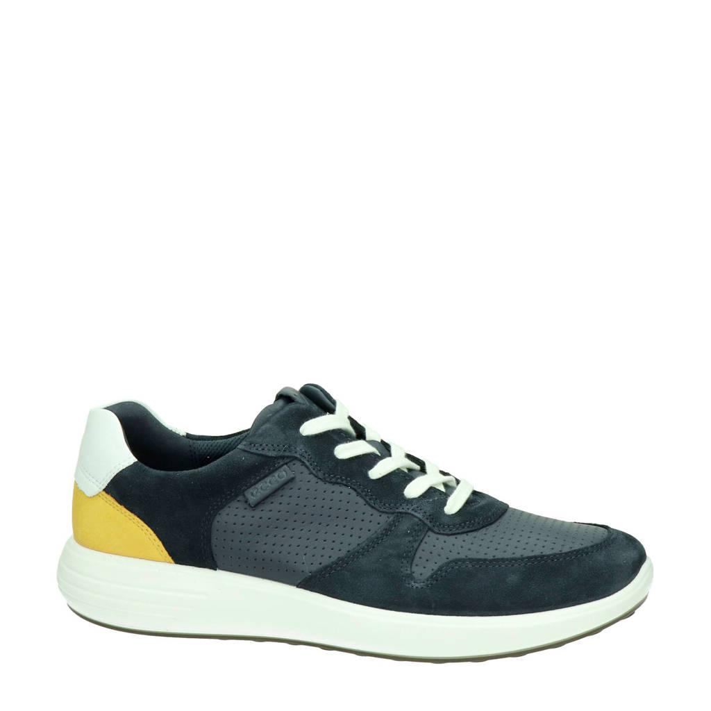 Ecco Soft 7 Runner  leren sneakers blauw/geel, Blauw/geel