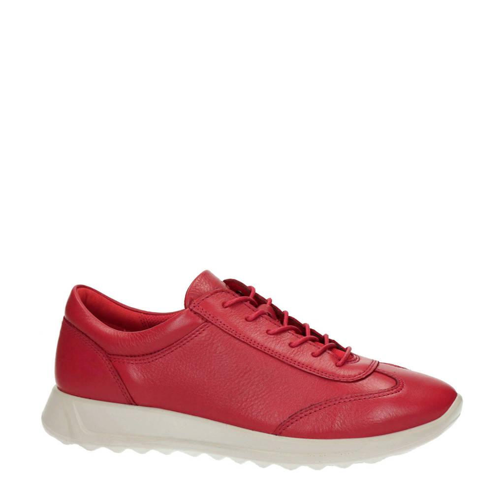 Ecco Flexure Runner comfort leren veterschoenen rood, Rood