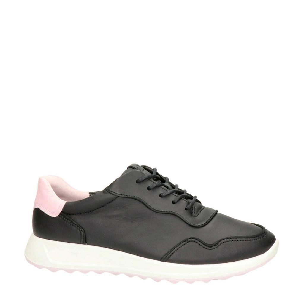 Ecco Flexure Runner  leren sneakers zwart/roze, Zwart/roze