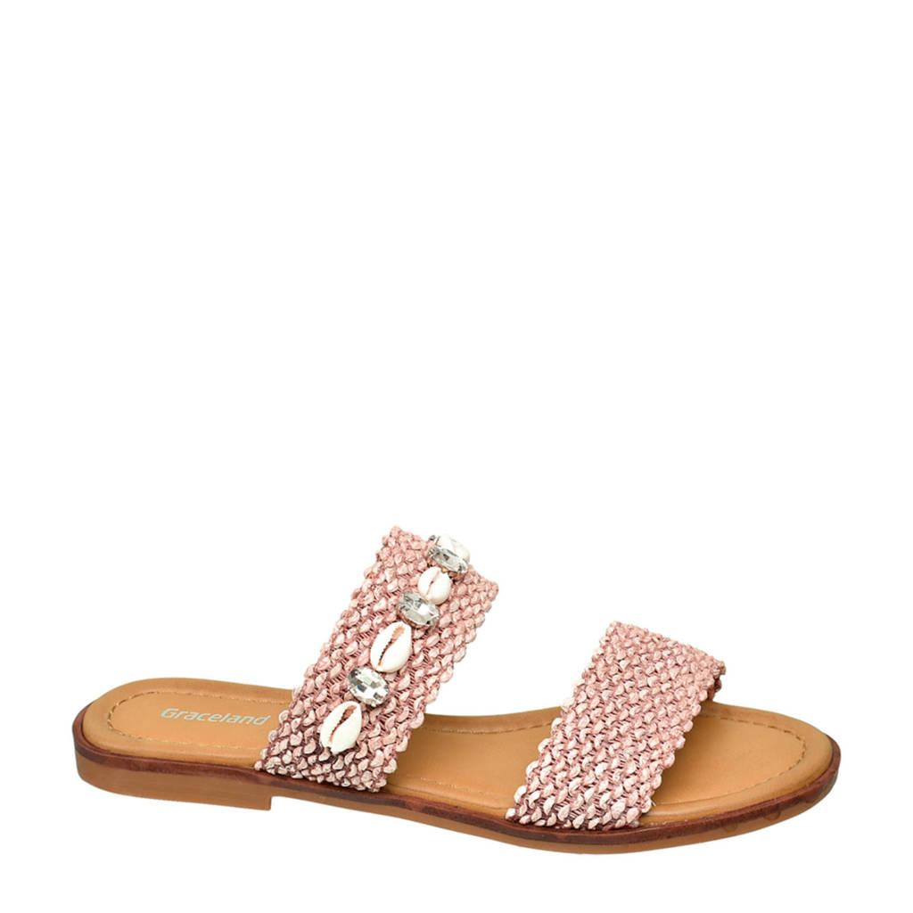 Graceland   slippers met sierstenen roze, Roze