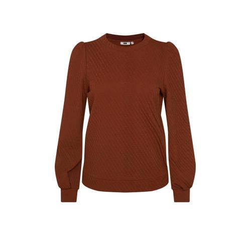 WE Fashion trui met textuur bruin