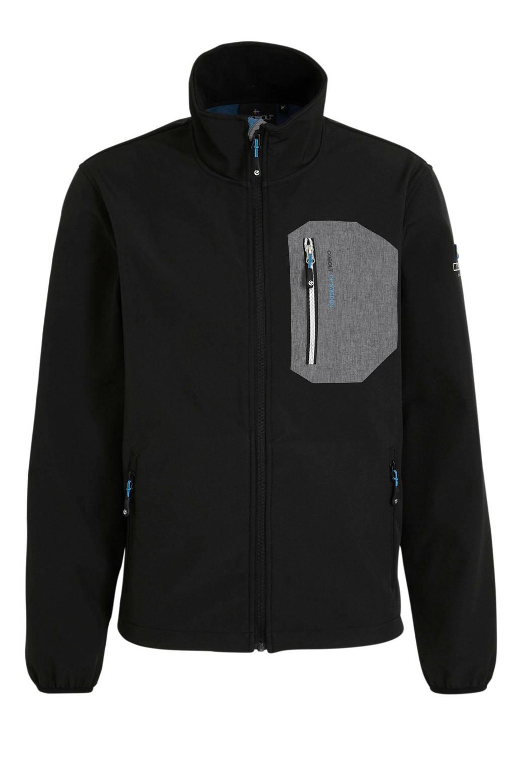 Cobolt softshell outdoor jas zwart/grijs, Zwart/grijs