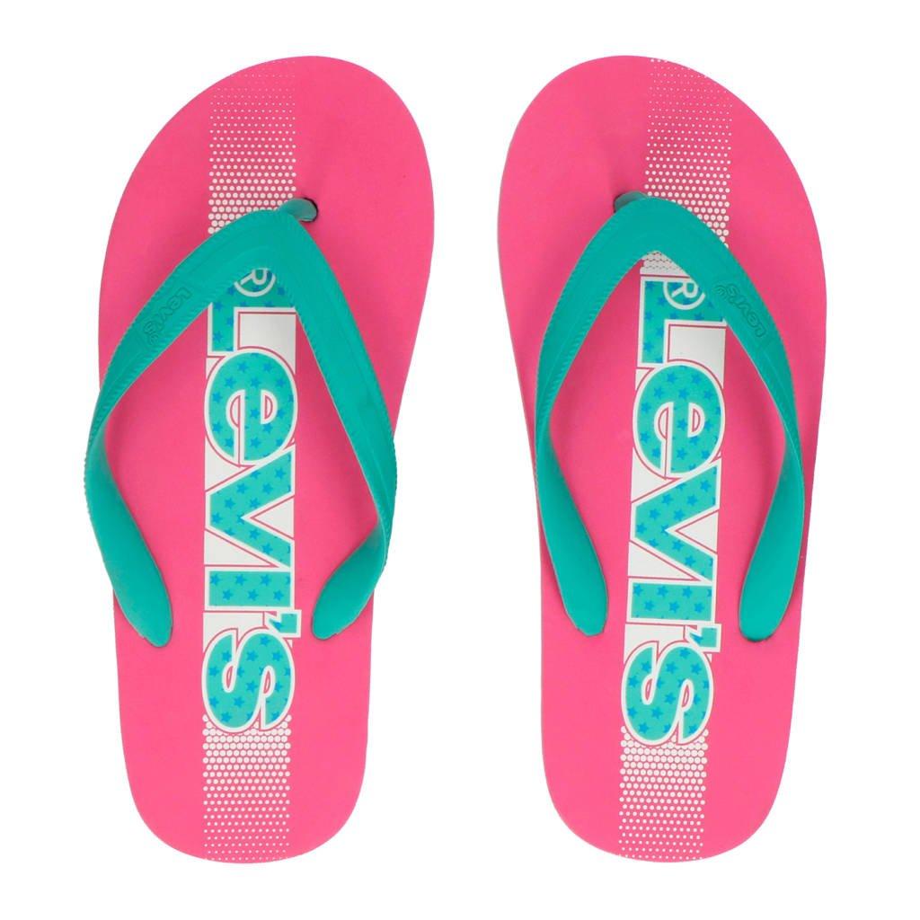 Levi's Kids Virginia Tiener teenslippers roze/mintgroen, Roze/mintgroen