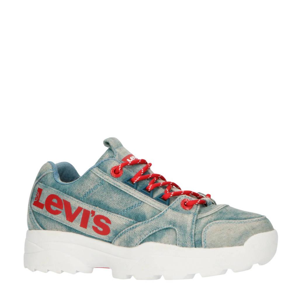Levi's Kids Soho Dnm K  chunky sneakers denim, Blauw/rood