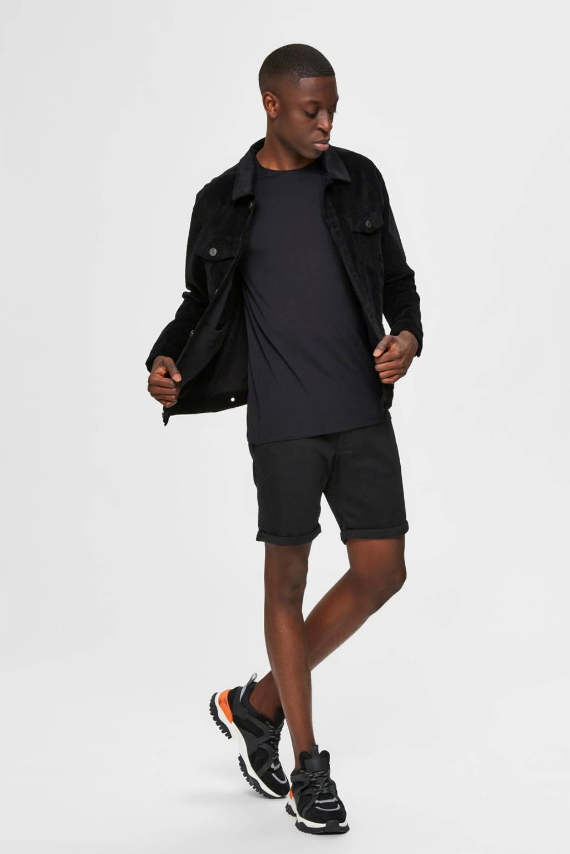 SELECTED HOMME regular fit jeans short zwart, Zwart