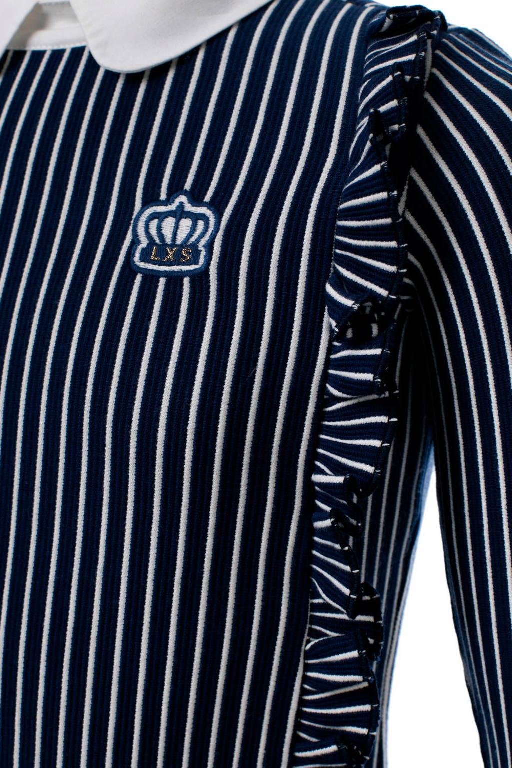 LOOXS gestreepte jurk met ruches donkerblauw/wit, Donkerblauw/wit