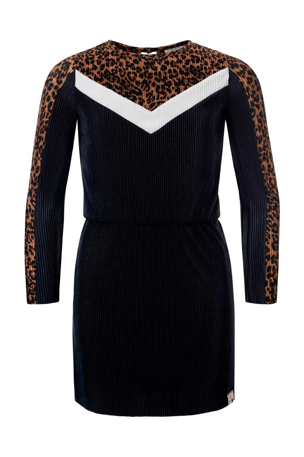 LOOXS plissé jurk met panterprint bruin/zwart/wit, Zwart/bruin/wit