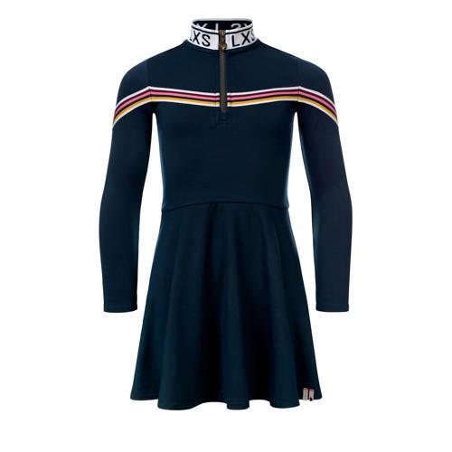 LOOXS A-lijn jurk met tekst donkerblauw/multi