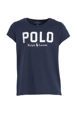 T-shirt met logo marine/wit