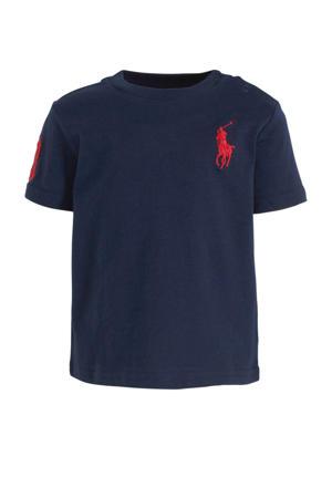 baby T-shirt met logo en borduursels donkerblauw/rood