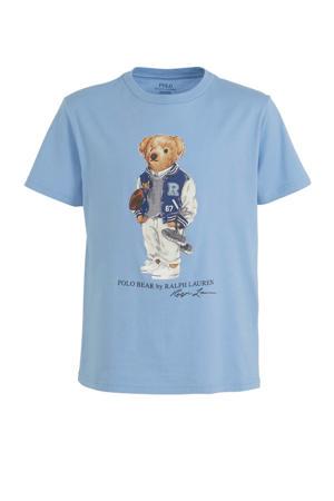 T-shirt met printopdruk lichtblauw/bruin/wit