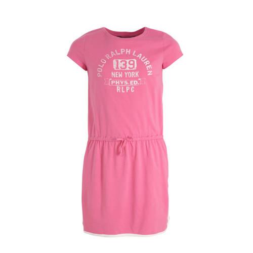 POLO Ralph Lauren jersey jurk met tekst roze/wit