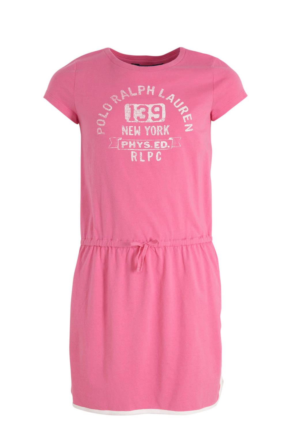 POLO Ralph Lauren jersey jurk met tekst roze/wit, Roze/wit, Tekst