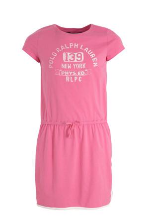 jersey jurk met tekst roze/wit