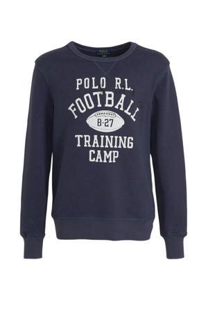 sweater met tekst donkerblauw/wit
