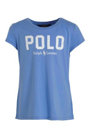 T-shirt met logo lichtblauw/wit