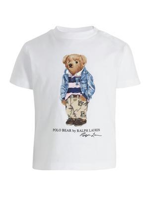 baby T-shirt met printopdruk wit/blauw/bruin