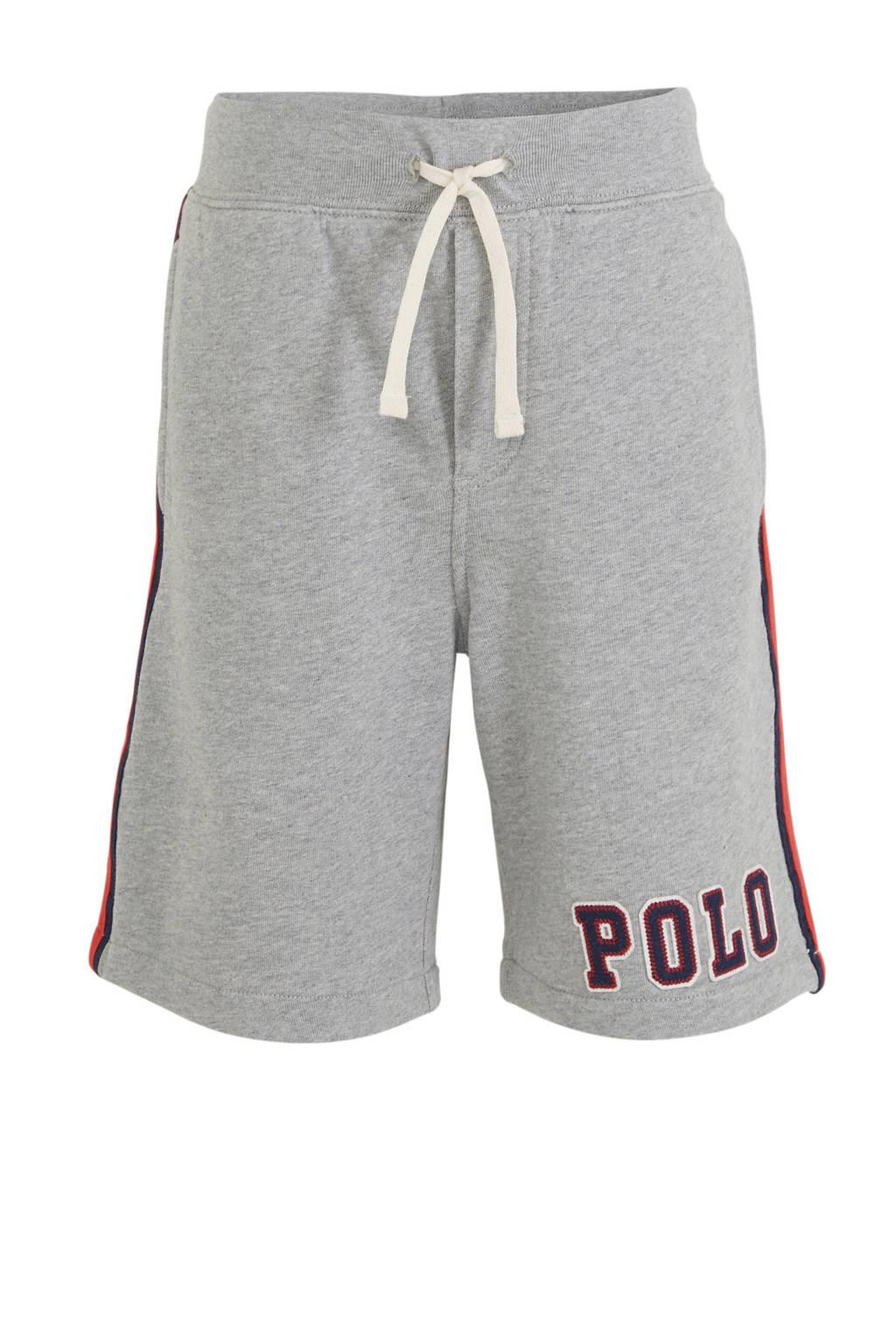 POLO Ralph Lauren sweatshort met zijstreep grijs/rood/donkerblauw, Grijs/rood/donkerblauw