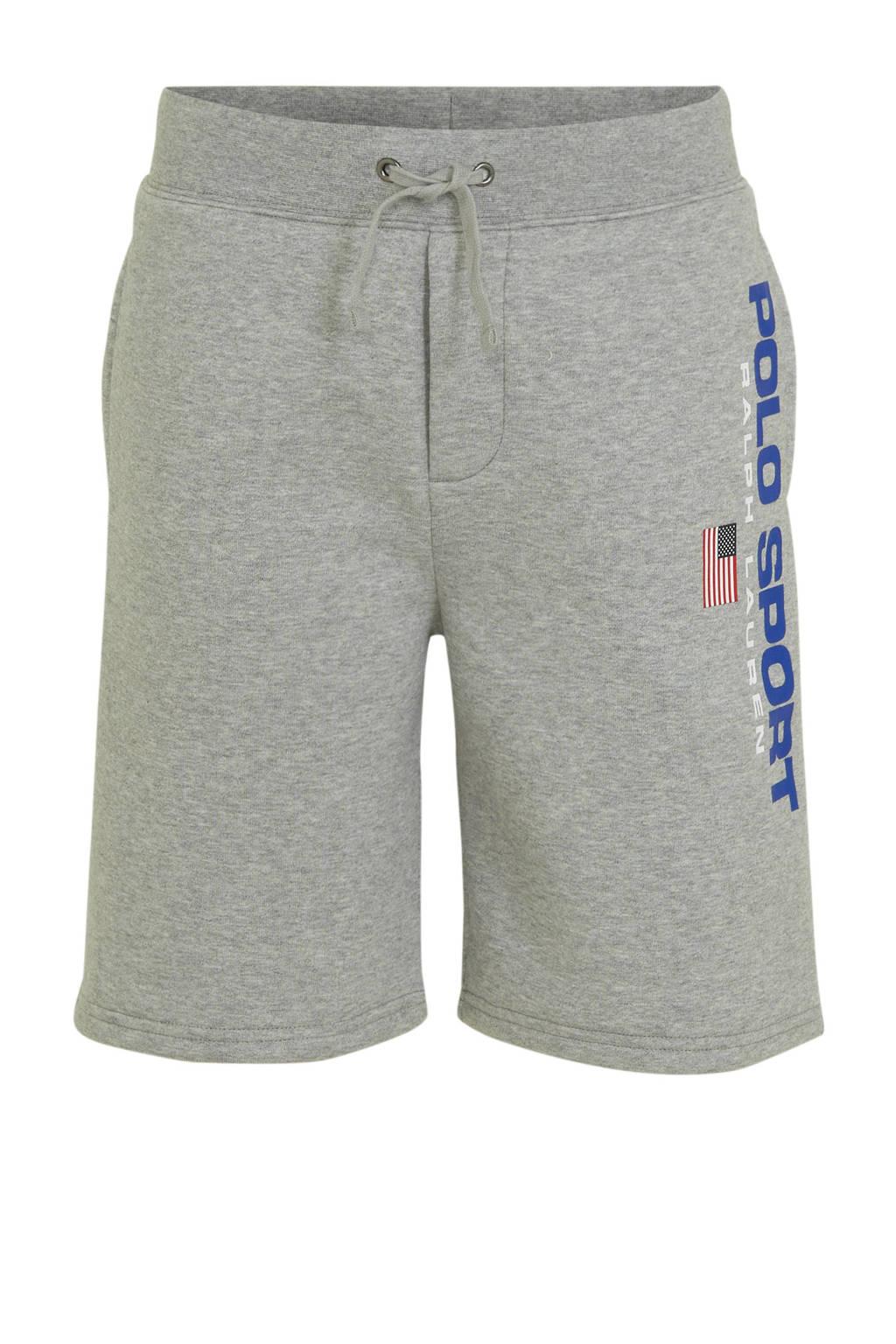 POLO Ralph Lauren sweatshort met logo grijs melange, Grijs melange