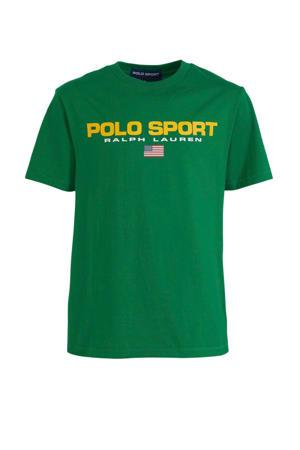 T-shirt met logo groen/geel/wit