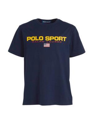 T-shirt met logo donkerblauw/geel/rood