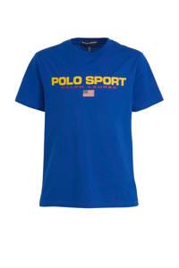 POLO Ralph Lauren T-shirt met logo donkerblauw/geel/rood, Blauw/geel