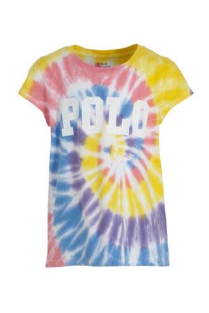 tie-dye T-shirt geel/roze/wit