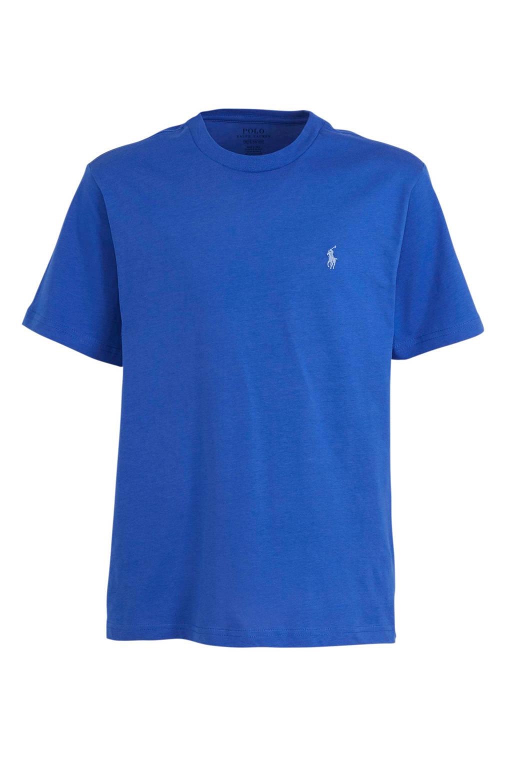 POLO Ralph Lauren T-shirt met logoborduursels blauw, Blauw/lichtblauw