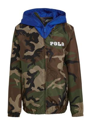 zomerjas met camouflageprint donkergroen/blauw/bruin