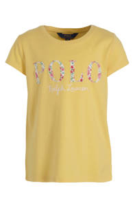 POLO Ralph Lauren T-shirt met logo en borduursels geel/wit/roze, Geel/wit/roze