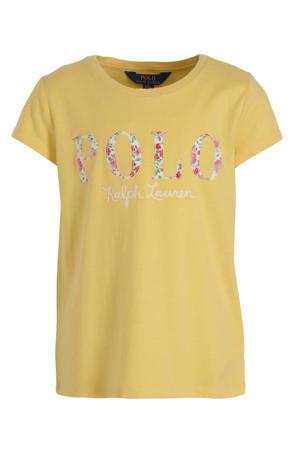 T-shirt met logo en borduursels geel/wit/roze