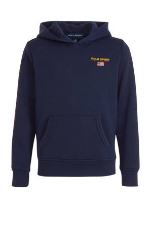 hoodie met logo en borduursels donkerblauw/geel/rood