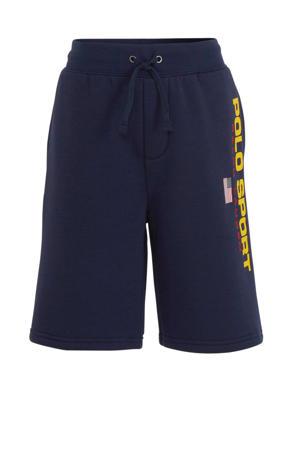 sweatshort met logo donkerblauw/geel/rood