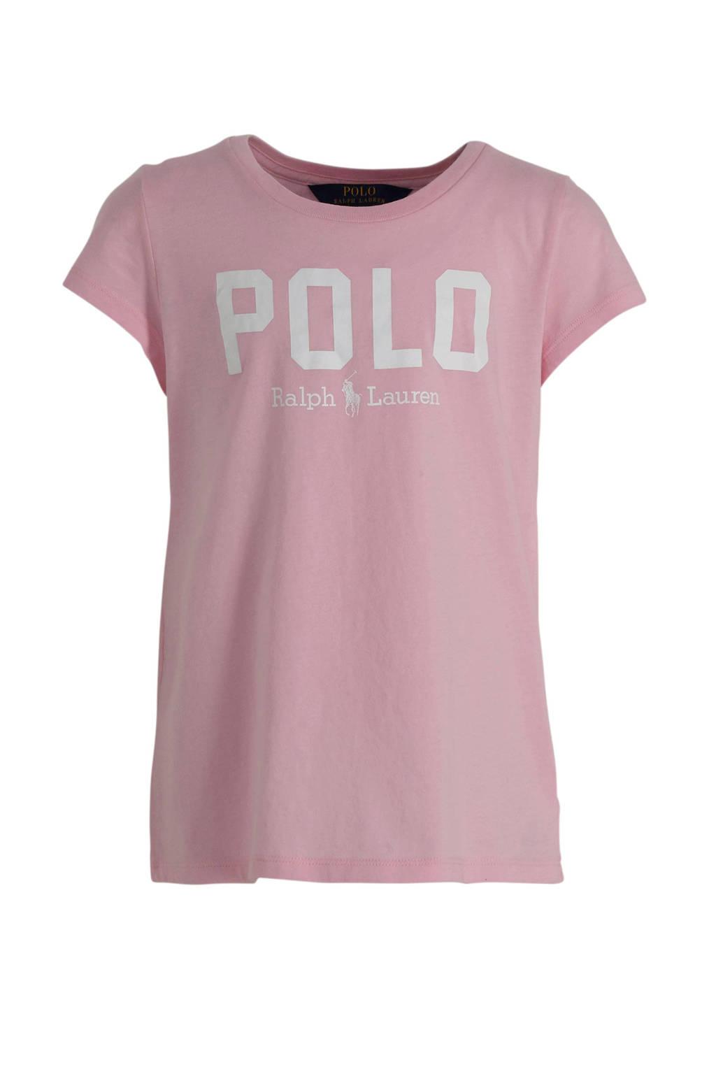 POLO Ralph Lauren T-shirt met logo lichtroze/wit, Lichtroze/wit