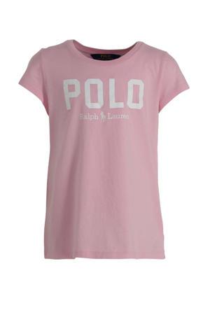 T-shirt met logo lichtroze/wit