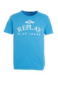 REPLAY T-shirt met logo blauw, Blauw