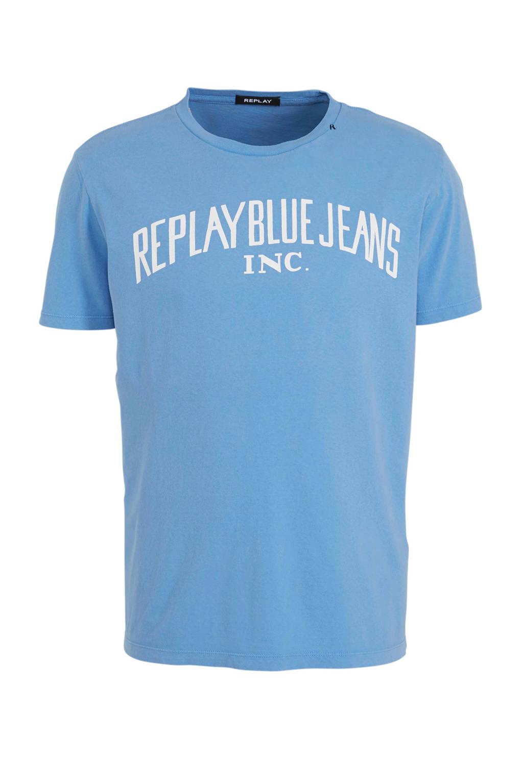 REPLAY T-shirt met printopdruk lichtblauw, Lichtblauw