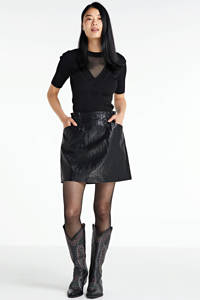 NIKKIE Selected By Kate Moss semi-transparante top Gigi  met textuur zwart, Zwart
