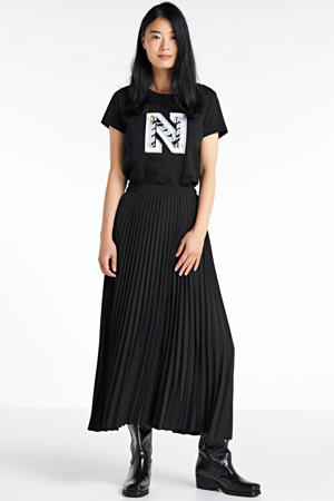 T-shirt met logo en borduursels zwart