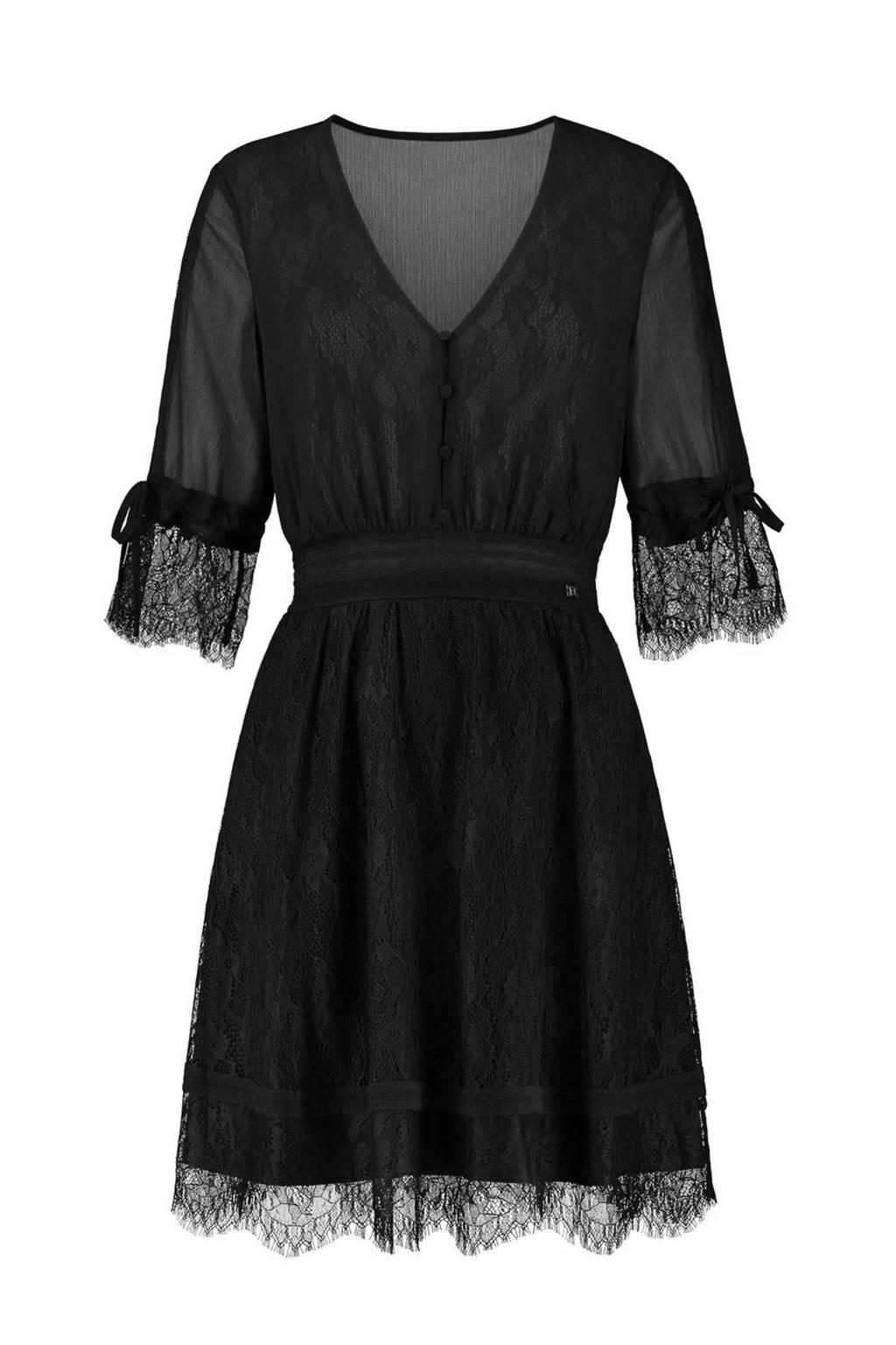 NIKKIE Selected By Kate Moss semi-transparante jurk Flora  met kant zwart, Zwart