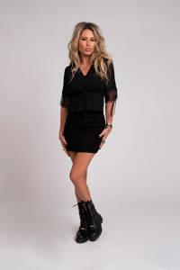 NIKKIE Selected By Kate Moss semi-transparante blouse Flora Selected By Kate Moss met kant zwart, Zwart