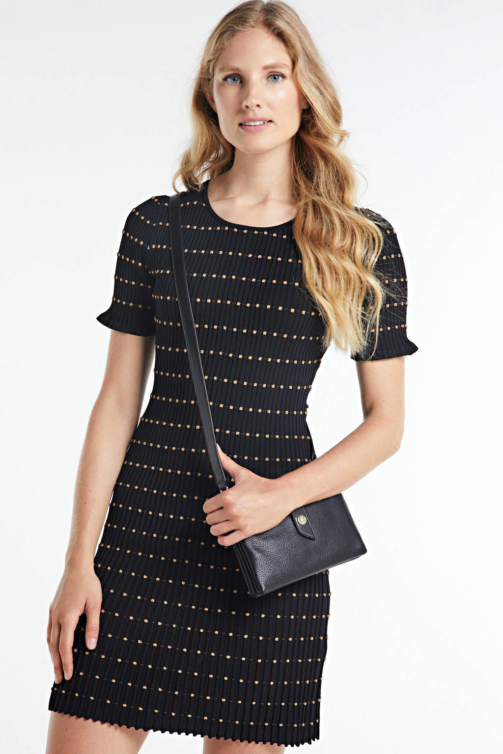 NIKKIE gestreepte jersey jurk Jomy zwart, Zwart