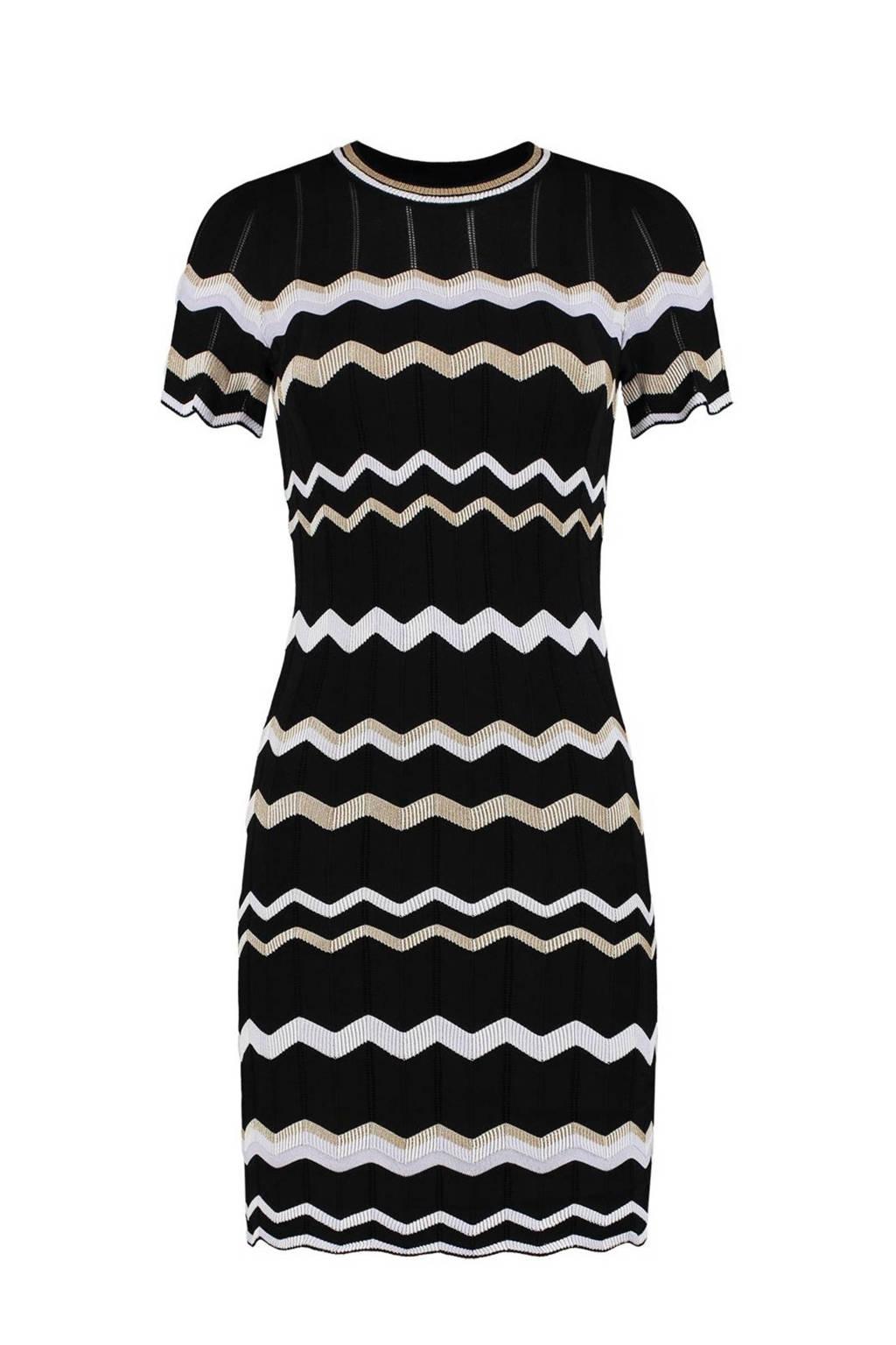 NIKKIE Selected By Kate Moss gestreepte semi-transparante jurk Grace  zwart, Zwart